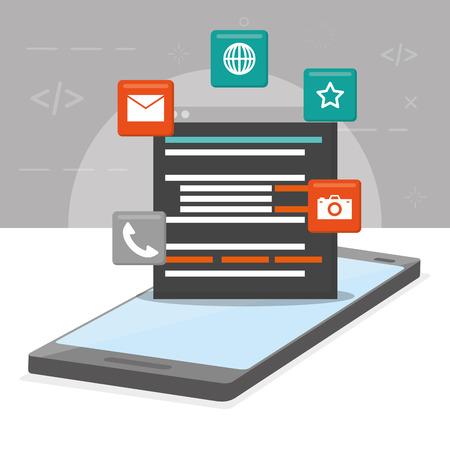 Ilustración de vector digital de lenguaje de desarrollo de aplicaciones móviles