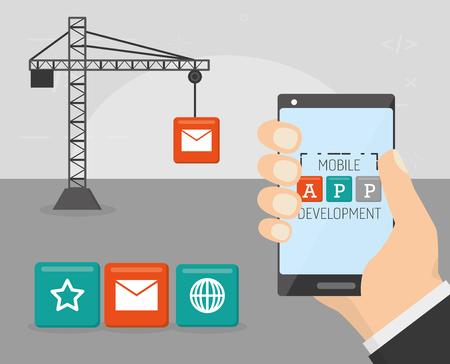 hand with cellphone construction mobile app development vector illustration