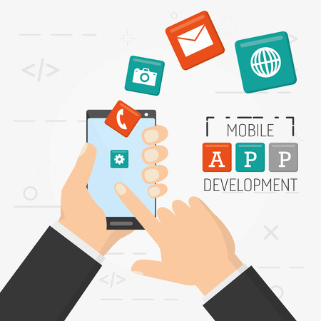 hand with cellphone items mobile app development vector illustration