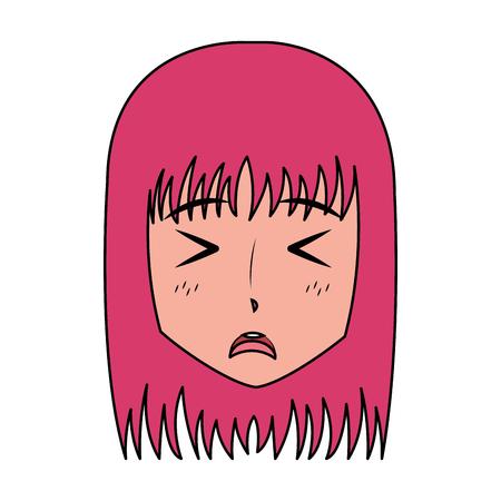 face girl anime manga comic vector illustration Ilustração