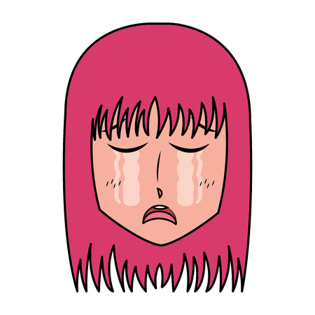face girl anime manga comic vector illustration Ilustrace