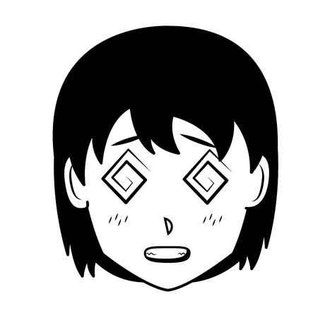 face girl anime manga comic vector illustration Vettoriali