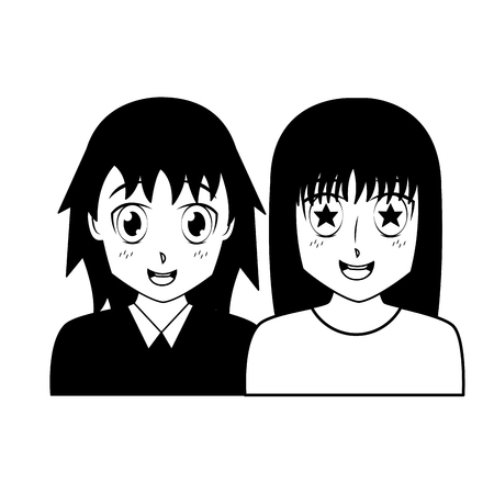 anime girls portrait manga cartoon vector illustration