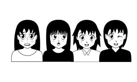 anime girl group manga comic vector illustration