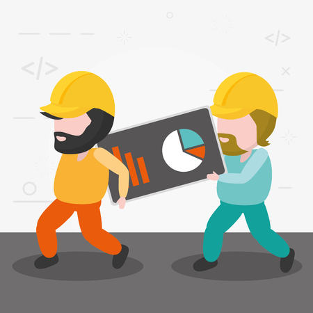 workers holding diagram button mobile app development vector illustration