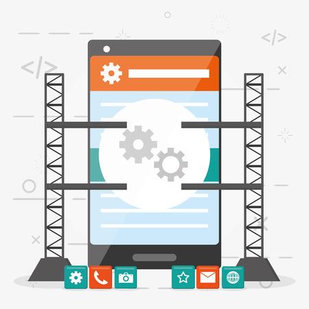 mobile app development technology digital vector illustration