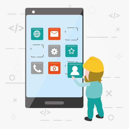 worker with smartphone mobile app development vector illustration
