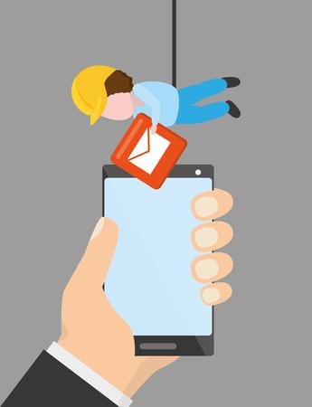 hand with phone worker email mobile app development vector illustration Illustration