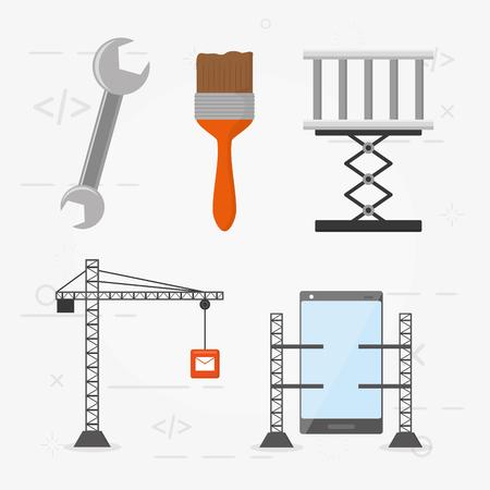 support tools construction mobile app development vector illustration Illustration
