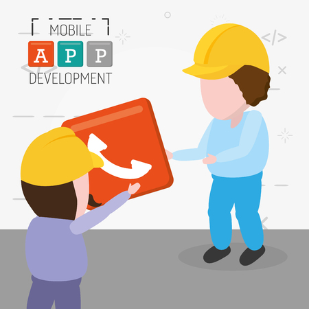 workers with phone button mobile app development vector illustration Imagens - 125257140