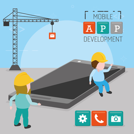 workers phone crane mobile app development vector illustration