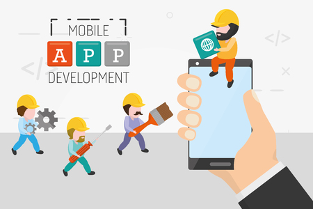 hand with phone and people working mobile app development vector illustration