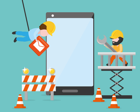 workers put button tools mobile app development