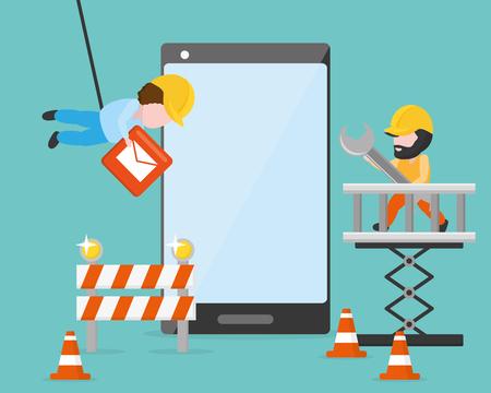 werknemers zetten knoppen voor ontwikkeling van mobiele apps