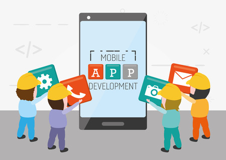 workers put in mobile app development vector illustration 向量圖像