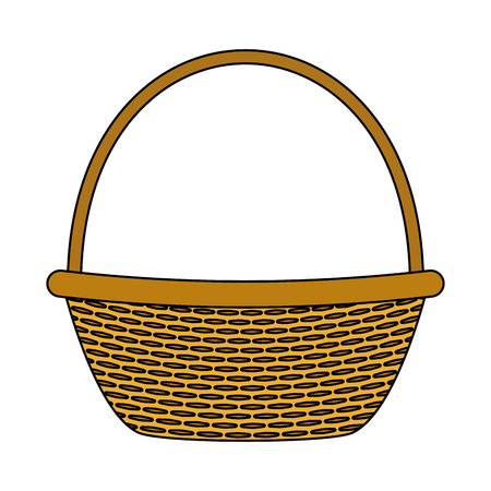wicker basket picnic on white background vector illustration