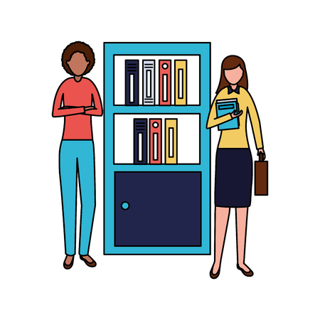 business women bookshelf books office vector illustration Çizim