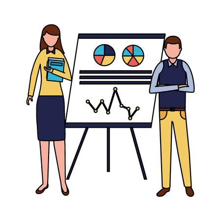 business man woman presentation report office vector illustration Illustration