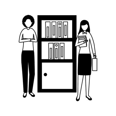 business women bookshelf books office vector illustration Illustration