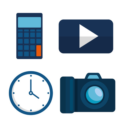 set finance strategy in the office with calculator and clock vector illustration Illustration