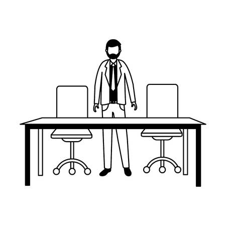 business man with table and chairs office vector illustration
