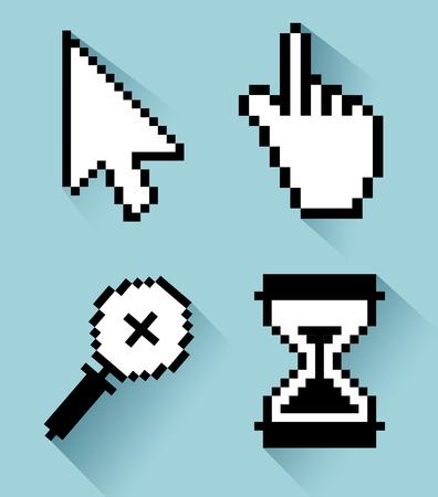 set arrow with hand and magnifying glass with hourglass cursor vector illustration Ilustração