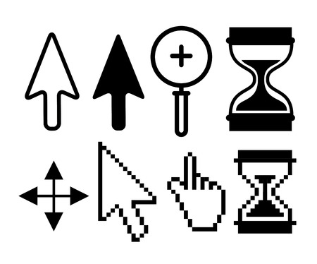 set arrow with hourglass and magnifying glass cursor vector illustration Illustration