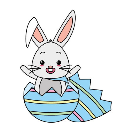 cute rabbit coming out easter egg vector illustration Illustration