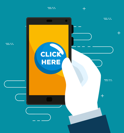 smartphone in the hand and touch mouse cursor vector illustration