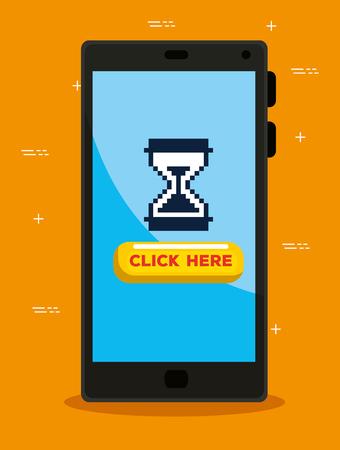 Smartphone con ilustración de vector de cursor de ratón de pixel de reloj de arena Ilustración de vector