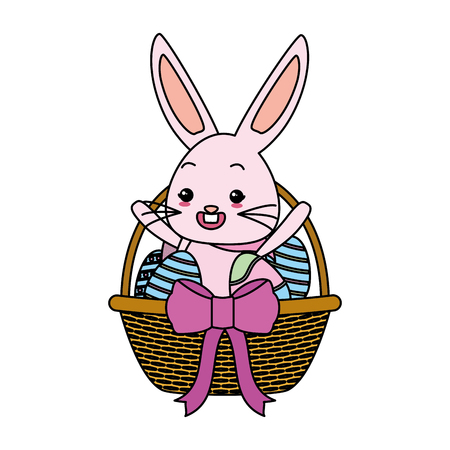 cute rabbit with easter egg basket bow vector illustration