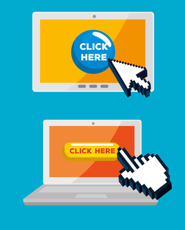 set tablet and laptop with arrow and hand cursor vector illustration