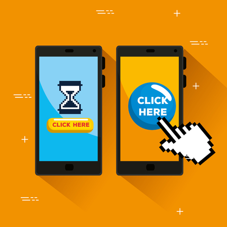 smartphones with hourglass and hand pixel cursor vector illustration