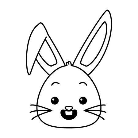 cute rabbit face cartoon animal vector illustration