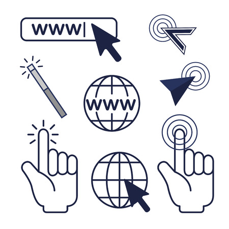 set arrow mouse cursor and global connection vector illustration Ilustração