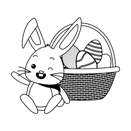 cute rabbit with filled basket eggs easter vector illustration