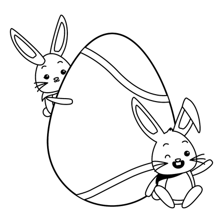 cute rabbits with easter egg vector illustration Vectores