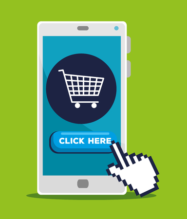 smartphone with hand pointer cursor and shopping online vector illustration