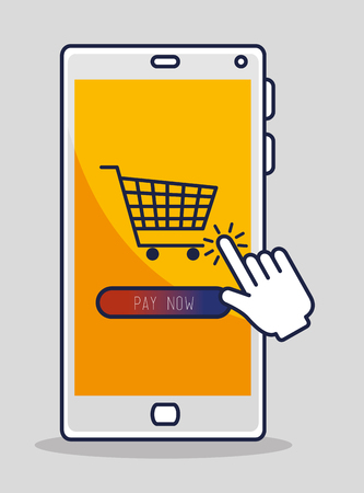 smartphone with hand pointer click cursor and shopping online vector illustration Illustration