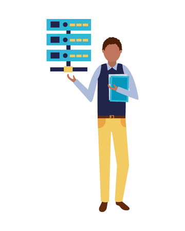 businessman database server and folder vector illustration