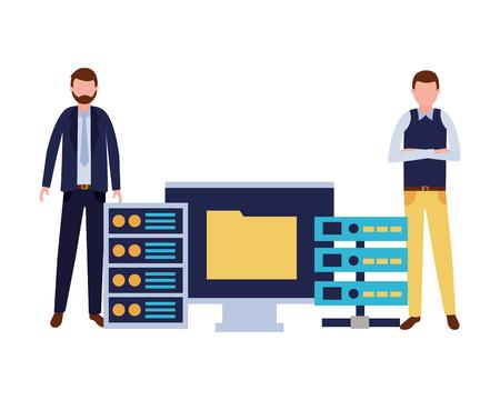 businessmen with computer database center file vector illustration