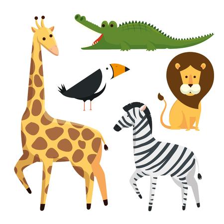 set danger wild animals to safari reserve vector illustration