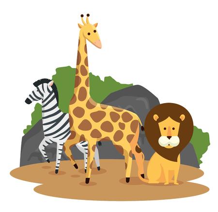 zebra with giraffe and lion wild animals vector illustration