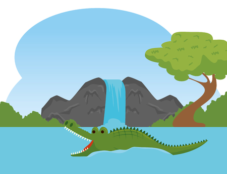 crocodile wild animal in the river reserve vector illustration