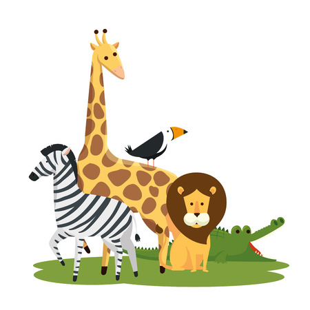 cute wild animals in the nature reserve vector illustration