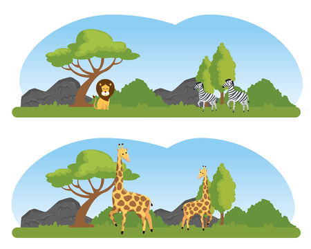 set wild animals in the nature safari reserve vector illustration 向量圖像