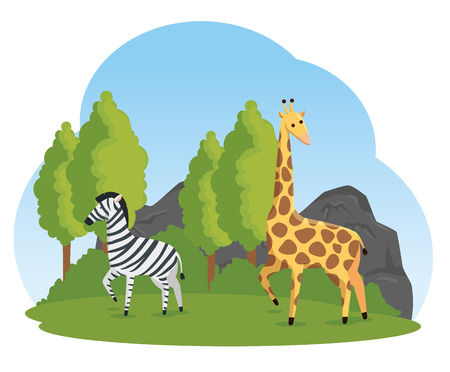 zebra and giraffe wild animals in the nature safari vector illustration
