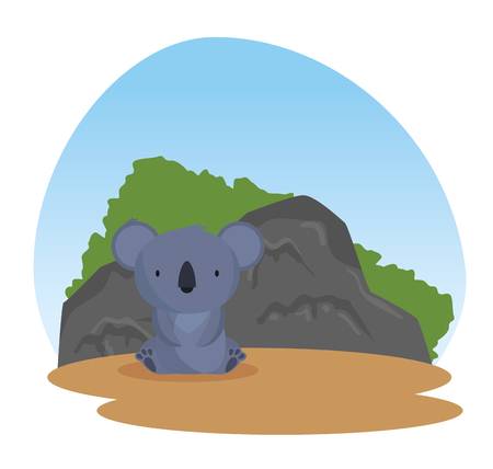 koala wild animal with bushes and stones vector illustration
