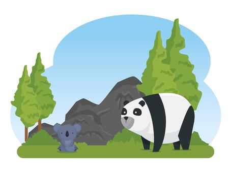 koala and panda wild animals with trees and stones vector illustration 일러스트