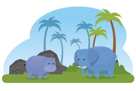 hippopotamus and elephant wild animals with palms vector illustration Illustration